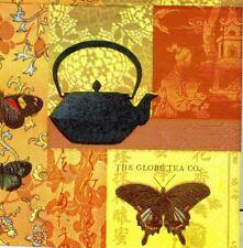 3 Serviettes en papier Cocktail Asie Thé Decoupage Paper Napkins Tea Garden