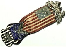 13 Star Flag Daughters of America Pin & Ribbon Circa 1900 Bible #11746