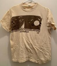 "True Vintage 1970's Dead Simple ""Hawaii� (Poly Tees Brand) Tshirt.Beige-Large"