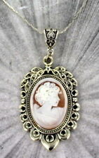 - Carved In Italy w Chain Vintage Antique Shell Cameo Pendant, Necklace