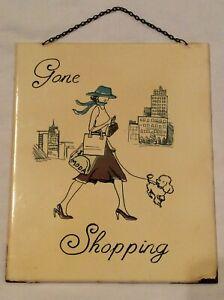 "Vintage French Enamel Sign Plaque ""Gone Shopping"""