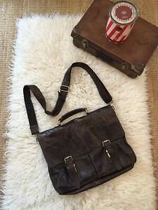 Mens Dark Brown Worn-effect Leather Satchel Messanger Bag