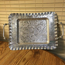 """Vintage Aluminum Serving Tray Fruit & Flower Design 13"""" long 10"""" wide"""