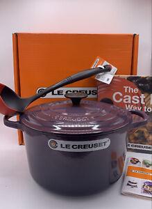 "Le Creuset "" CASSIS ""  Cast Iron Deep Round Oven 5 1/4 qt , ladle and cookbook"