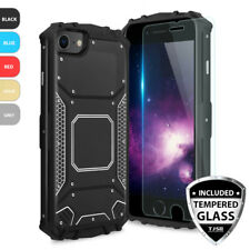 For Apple iPhone 8 7 6s 6 Plus Metal Magnetic Phone Support Case+Tempered Glass