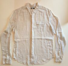 BDG Urban Outfitters Breezy Long Sleeve Button-Up Beige Stripes Size M