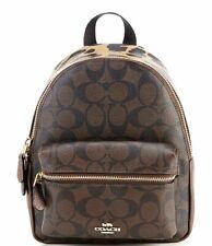 Coach 39034 Signature Leopard Charlie Mini Backpack Bag Brown Multi