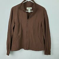 Orvis Womens Jacket Size MP Brown Zip Up Long SLeeve Crinkled Stretch Casual