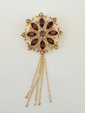 New Golden Brown Round Flower Good Fortune Crystal Fringed Brooch Pin BR1400A