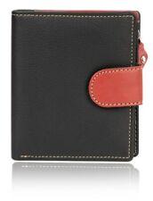 Genuine Leather Women Wallets Multi-Function Slim Bifold Button Zip ClosurePurse