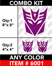 "TRANSFORMERS "" DECEPTICON "" 3 COMBO KIT DECAL STICKER 8"" / 4""  Any 1 Color"