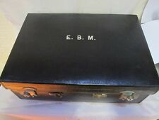 ANTIQUE GENTS TRAVELLING GROOMING SET LARGE LEATHER CASED C 1920