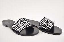 NIB Dior Black Mirror Embroidered Crystal Mosaic Mule Slide Sandal Flat 36.5