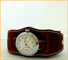Antique 1910's Rolex Rebberg WWI Trench 32mm Silver 875 Enamel Dial Watch
