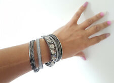 Stunning 7 piece hematite tone - crystal & silver colour glitter bangle set #491