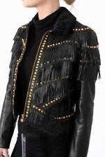 Versace Fringed Studded leather Jacket Black IT42 Small UK8 US6 £3400 Pony Fur