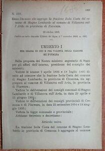 PIACENZA,REGIO DECRETO CHE AGGREGA ISOLA COSTA AL COMUNE DI VILLANOVA ARDA-1680