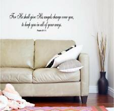 He Shall Give His Angels Wall Sticker Quotes Vinyl Lettering Decal Bible Verse