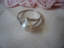 Antique Art Deco Vintage Pearl and Sapphire Sterling Silver Ring large size X