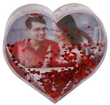 Schüttelkugel Fotorahmen mit Glitter in Herzform Bilderrahmen Glitterherz Liebe