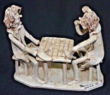 "Vintage ""Chess Players""  Ceramic Signed Italy  Dino Bencini 8""X7""X3.25"""