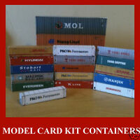 Cargo Freight Containers 1:220 Z Scale Model Card Mixed Set x 12 @ 20/40/45ft