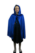 Childrens Velveteen Fancy Dress Hooded Cape Super Hero Book Week Kings Costume Blue