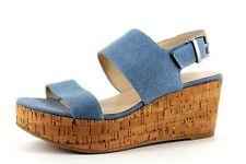 R Edition La Redoute Womens UK 3.5 Blue Canvas Wedge Platform Slingback Sandals