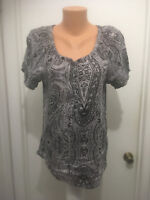 Izod Womens Paisley Short Sleeve Shirt Blouse Cotton Pull Over L
