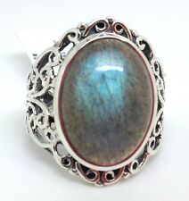 Labradorite oval ring, UK Size Q new, actual one, filigree, chunky. 🇬🇧