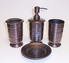 New 4 Pc Set Brown Metal Soap Dispenser+Dish+Tooth+Tumb ler,Handcrafted Indian