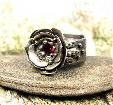 Corundum Stone-Size 8 Floral Steel Ring -Ruby