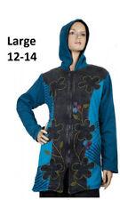 Ladies Long Cotton Razorcut Flower Patch Hippie Boho Jacket Hood Fleece Lining