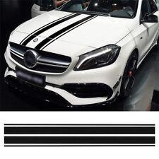 2x Car Carbon Fiber Black Car Hood Stripe Decal Strip Bar Graph Bonnet Sticker