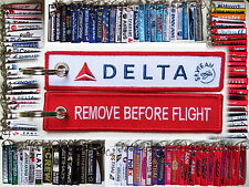 Keyring DELTA AIR LINES Remove Before Flight tag keychain RED