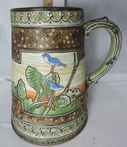 "Vintage 6"" Hand Painted Nippon Mug With Birds Design"