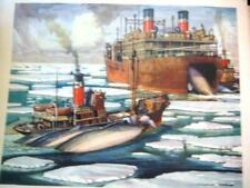 More details for genuine 1950s macmillian's 'antartic whaling ships' education poster 21 x 16