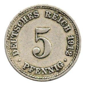 KM# 11 - 5 Pfennig - Wilhelm II - Germany 1912 A (F)