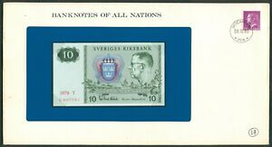 BANKNOTES OF ALL NATIONS SWEDEN 10 Kronor 1980 UNC with Stamp on envelope