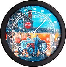 """New Coca Cola FORD Tractor Thermometer 14"""" Round DAVE BARNHOUSE Farm Shop Talk"""