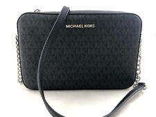 New Authentic Michael Kors Jet Set Item Large EW PVC Crossbody Bag Silver Black