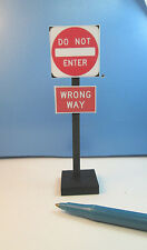 Miniature Free Standing No Enter/Wrong Way  Wood Post Sign : Dollhouse 616-614