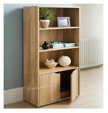 TURIN STYLISH 2 DOOR BOOK CASE SHELF UNIT CABINET STORAGE SOLID OAK FINISH NEW