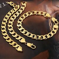 "Men's Necklace Bracelet 18k Yellow Gold Filled Set 24""Chain Charm Link"