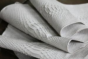 Genuine Reticulatus Python Leather Hide Snake Skin Pelt White Real Curtus