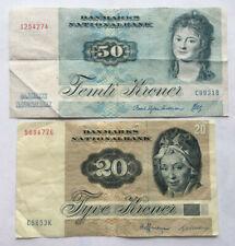 More details for denmark: 50 kroner and 20 kroner old banknotes from 1972 in vg+ condition. dkk.