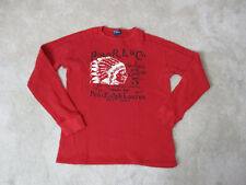 VINTAGE Ralph Lauren Polo Long Slevee Shirt Adult Small Red Thermal Indian Head