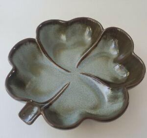 Vtg. Frankoma Pottery 223 Shamrock Clover Dish Woodland Moss Excellent