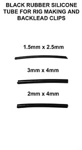 BLACK SILICONE RIG TUBE/ TUBING - 3 5IZES -  RIG MAKING & BACKLEAD CLIPS