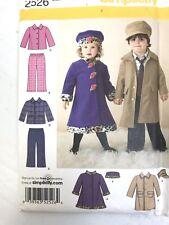 Girl and Boy Coat,Hat,Pants,Dress Coat,Sizes 1/2,1,2,3,4, Simplicity 2526